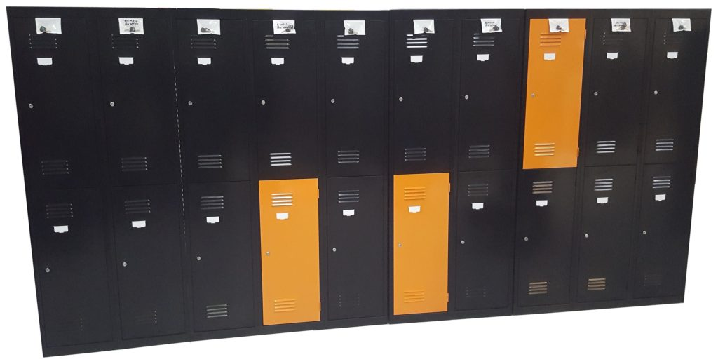 2 Door Lockers - Satin Black and Orange X15