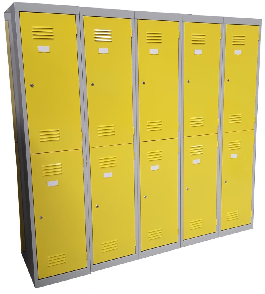 2 Door Lockers - Light Grey and Lemon Yellow
