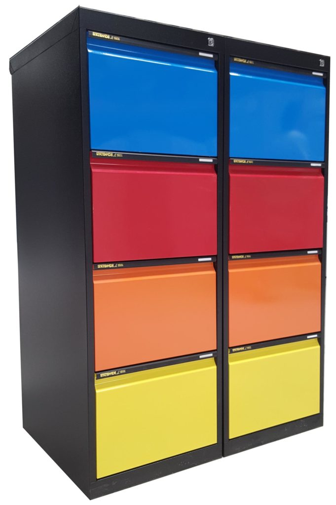 4 Drawer Filing Cabinet Black and Colours