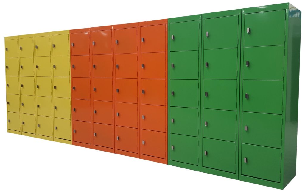 5 Door Lockers, Lemon Yellow, Orange X15 and Green