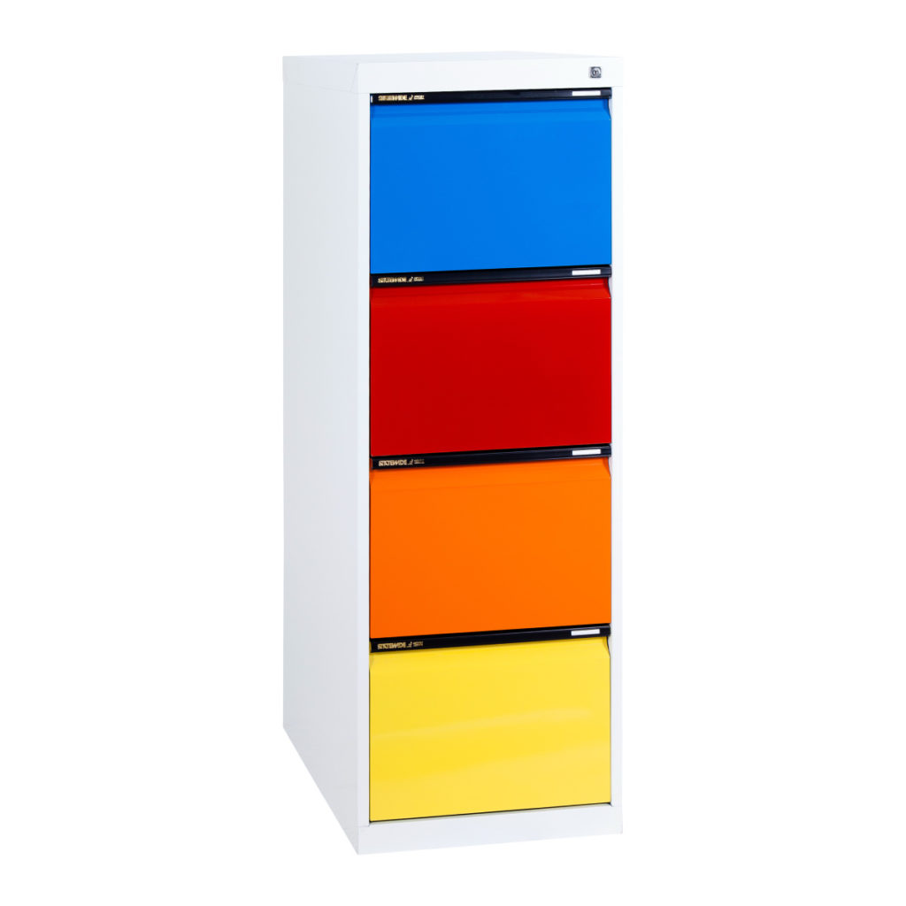 4 Drawer Filing Cabinet White and Colours