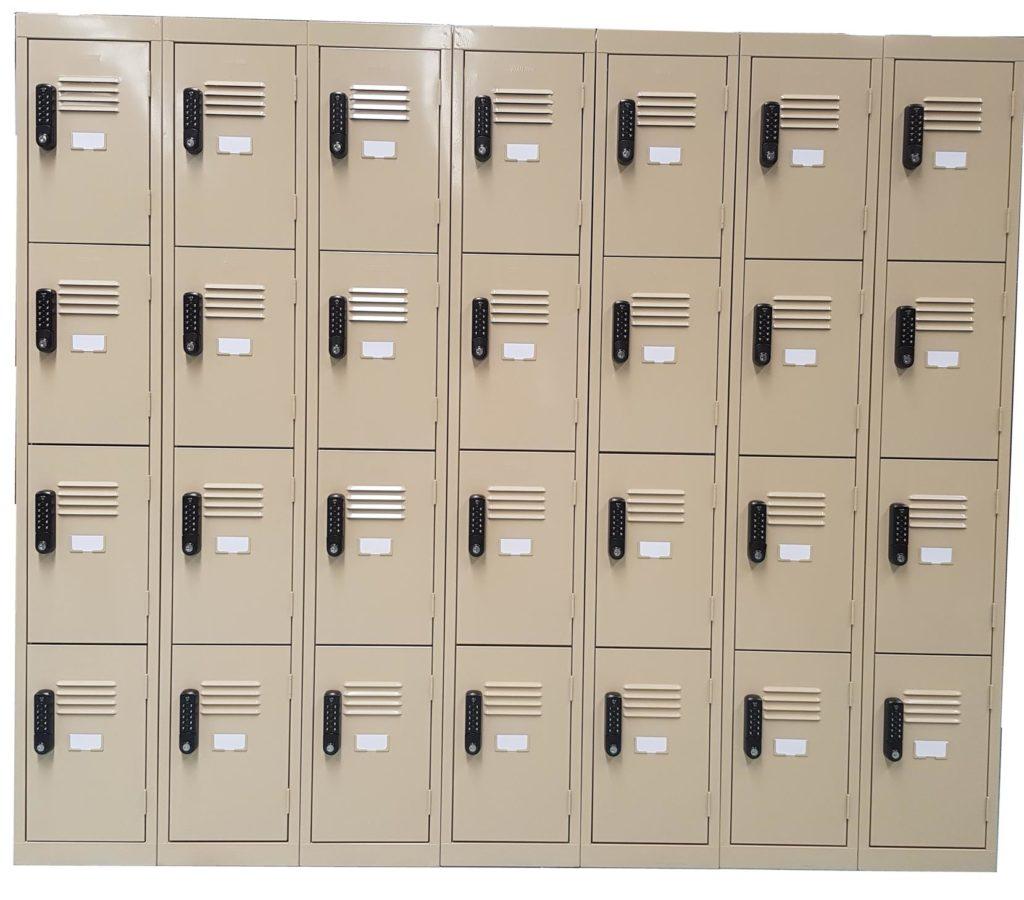 4 Door Lockers in Wild Oats with Black Digital Combination Lock